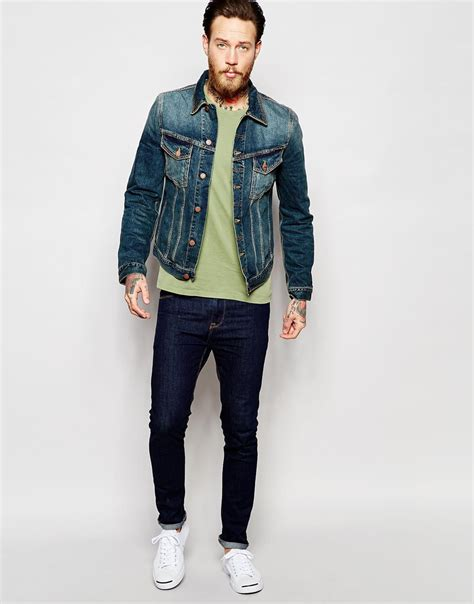 Trucker Denim Jacket In Brown nudie billy trucker denim jacket in brown for lyst