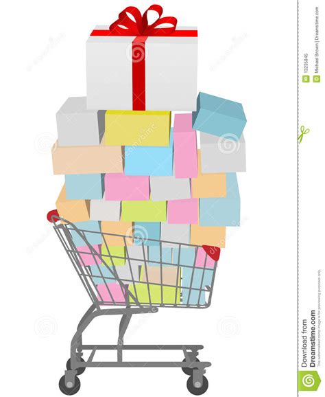 gift for shopping buy many gift boxes shopping cart stock vector