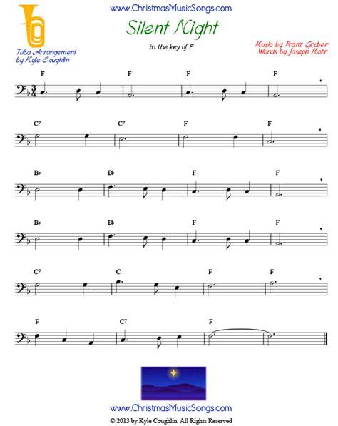 song trombones silent night for tuba free sheet music