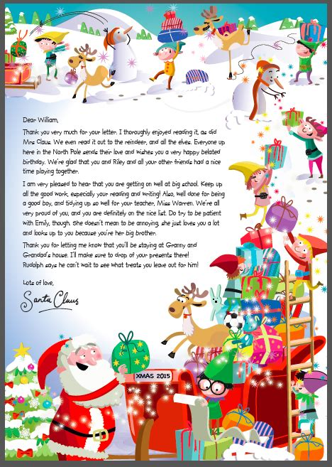 charity letter to santa a letter from santa via the nspcc of one