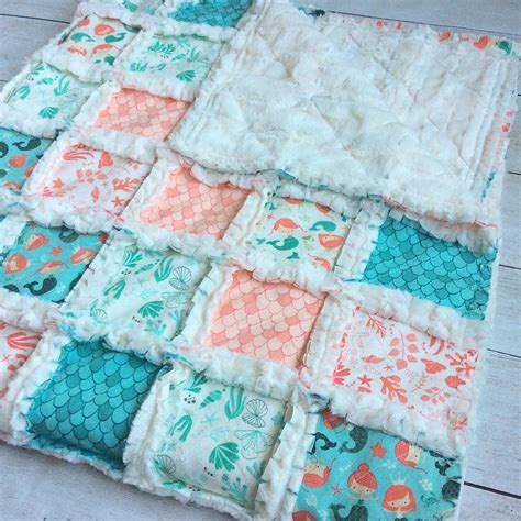 mermaid rag quilt from the cuddly quilt sewing
