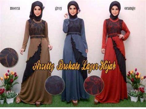 Foto Asli Gamis Jersey Layer Top baju gamis brokat arzetty r109 model layer busana muslim pesta remaja modern