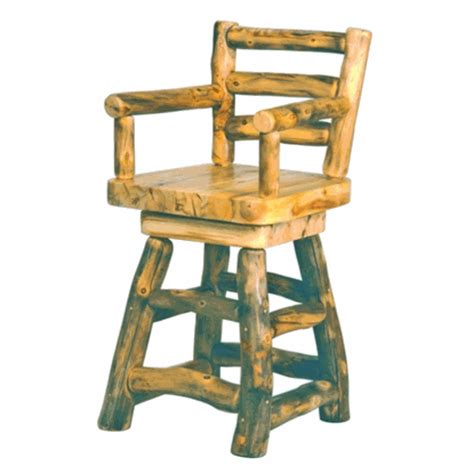 log home bar stools mountain woods rustic aspen log bar stool w arms