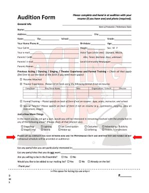 audition form fill online printable fillable blank