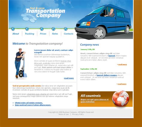 templates for courier website fast save web template 3635 cars transportation