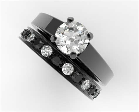 unique alternating black and white wedding ring