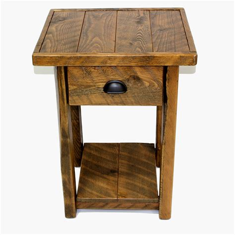 Rustic Wood Nightstand by Rustic Wood 1 Drawer Nightstand Four Corner Furniture