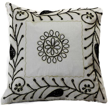 Embroidered Pillow Covers by Paisley Embroidered Pillow Covers 16 Quot X 16 Quot Set Of 2