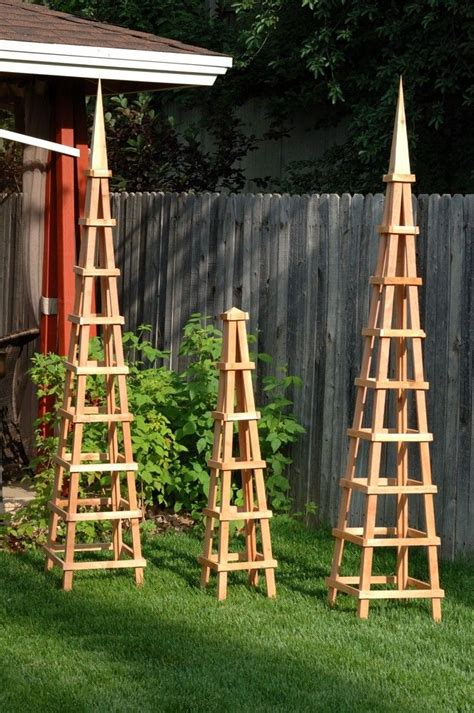 Obelisk Trellis Wood Garden Obelisk Trellis Woodworking Projects Plans
