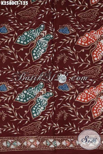 Batik Mutia Maroon Modis kain batik halus warna merah marun motif kupu proses cap tulis di jual 125k bahan
