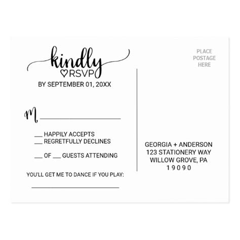 Simple Black White Calligraphy Song Request Rsvp Postcard Zazzle Com Free Rsvp Postcard Template