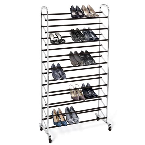 chrome 10 tier rolling shoe rack the container store