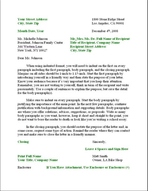 business letter format formal writing sle template layout