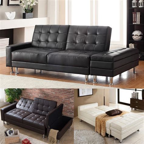 guest sofa bed foxhunter pu sofa bed with storage 3 seater guest sleeper