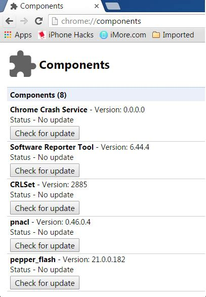 chrome components use chrome components to update individual components