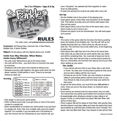 game rules layout format and layout of the score sheet should be easily