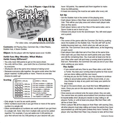 farkle score sheet farkle score sheet template 7 free documents