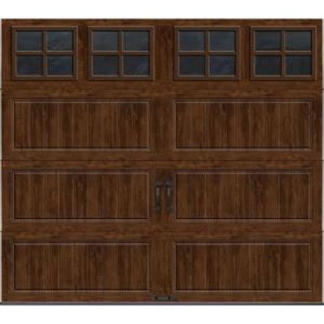 clopay gallery collection 8 ft clopay gallery collection 8 ft x 7 ft 18 4 r value intellicore insulated ultra grain walnut