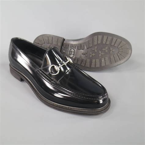 silver loafers mens s gucci size 10 black rubber silver horsebit loafers