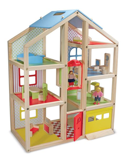 amazon doll houses amazon com melissa doug hi rise wooden dollhouse with 15 pcs furniture garage and
