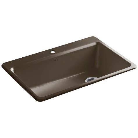 kohler drop in kitchen sinks kohler riverby drop in cast iron 33 in 1 single bowl