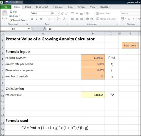 present value table excel present value of a growing annuity