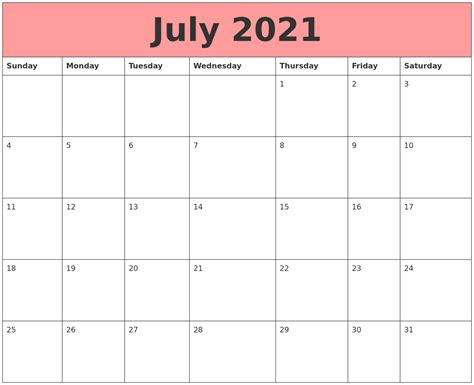 printable calendars july july 2021 calendars that work