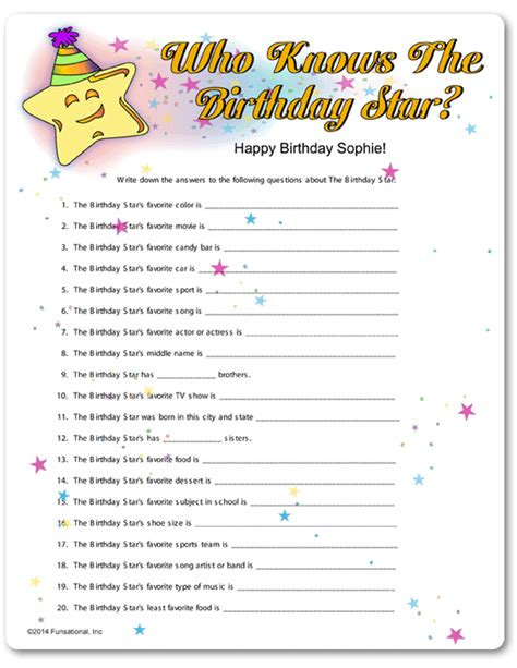 printable birthday games printable who knows the birthday star 90th birthday