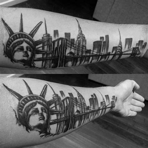 new york tattoos 70 city skyline designs for downtown ink ideas