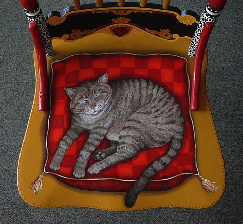 Cat Chair by Detail Seat Of Painted Cat Chair By Andrea Ellwood