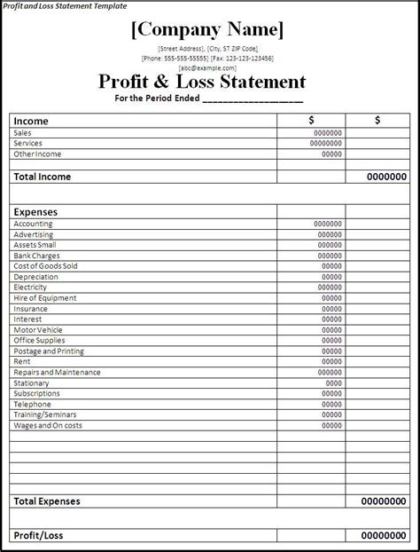 profit and loss template fill online printable