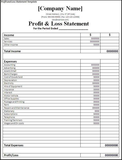 premium blank profit and loss statement template v m d com