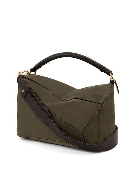 lowe bags loewe puzzle large satchel bag in green lyst