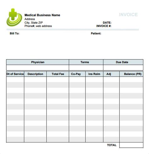 free templates for medical invoices free medical invoice template hardhost info