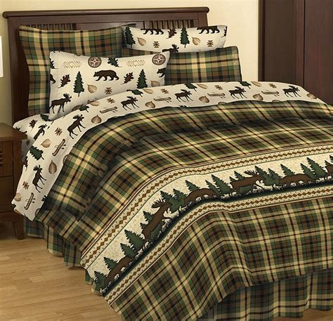 Moose And Bear Bedding Cabin Lodge Bed In A Bag Comforter Moose Bedding Set