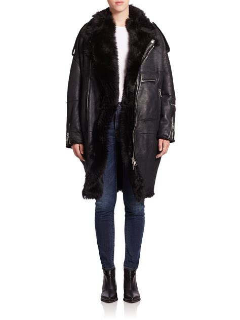 oversized black leather r13 oversized leather shearling moto jacket in black lyst
