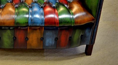 leather couch with buttons chesterfield patchwork byron chair harlequin patchwork leather