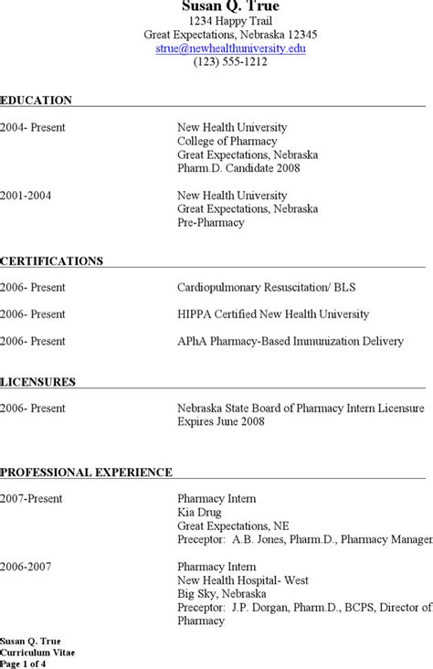 Retail Pharmacist Resume Exle by Pharmacist Resume Templates Free Premium