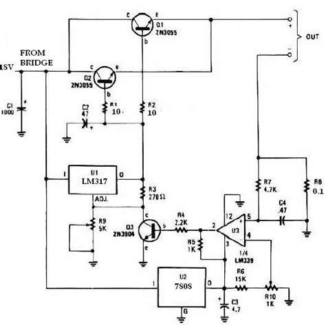 2n3055 alimentatore caricabatterie universale con lm317 e 2n3055 schema