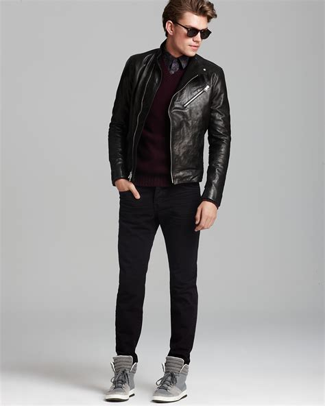 Vince Leather Biker Jacket, Floral Sport Shirt   Slim Fit, Twill Slim Fit Pants & Tom Ford Flynn