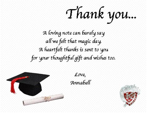 Thank You Note To On Graduation Day Graduation Thank You Note Quotes