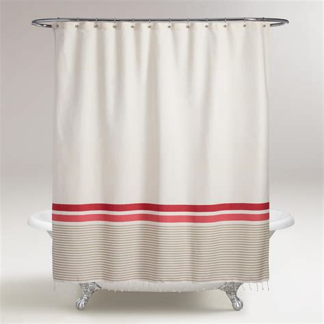 coral striped curtains ivory and coral hamam stripe shower curtain world market