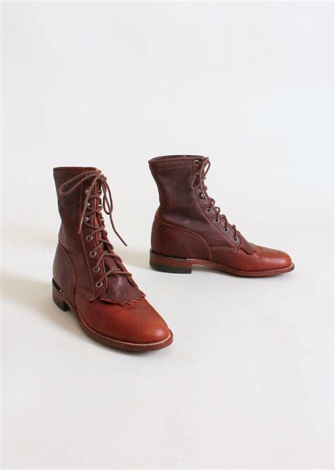 vintage 1990s justin brown leather fringe ankle boots