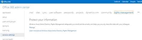 Office 365 Portal Redirect Ad Rms Rights Management Services For Office 365