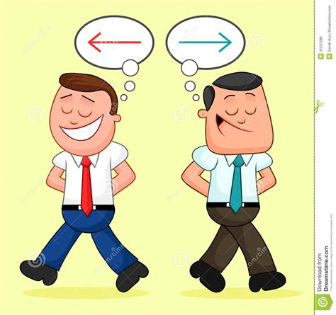 different ideas businessman pair walking apart with different