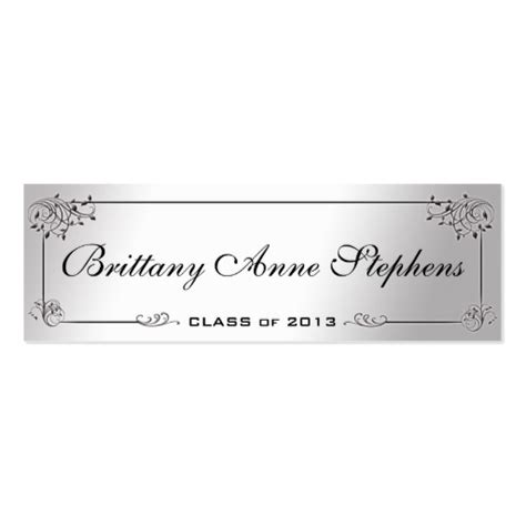 template for graduation name cards silver graduation name card insert business card