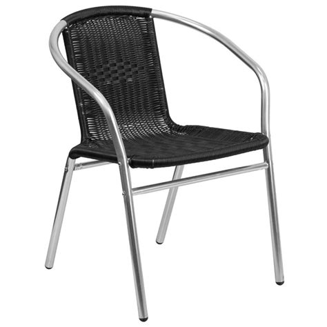 aluminum stacking patio chairs aluminum and rattan stacking patio chair in black tlh 020 bk gg