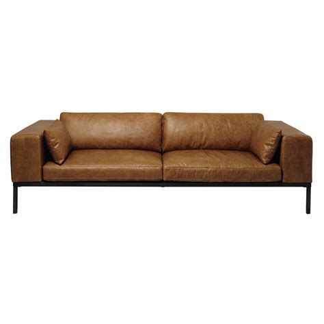 4 seater leather sofa in camel wellington maisons du monde