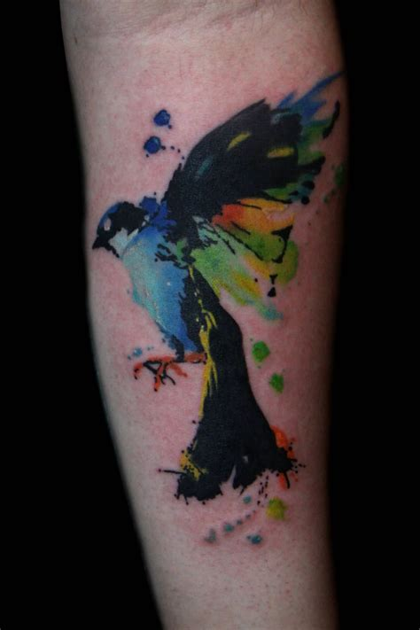 old watercolor tattoo 29 fantastic watercolor bird tattoos