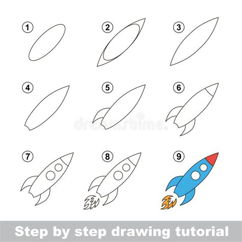pattern drawing games drawing tutorial how to draw a toy rocket stock vector